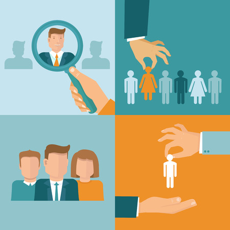 Vector business and employment concepts in flat style - illustrations and icons related to human resources theme