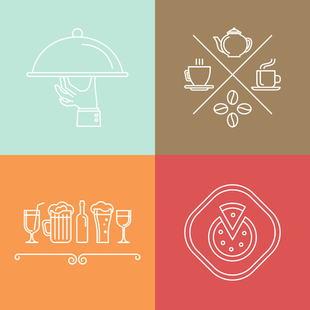 catering: Vector linear catering and cafe icons design elements