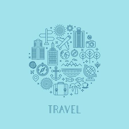 agencia de viajes: Iconos de viajes vectorial en estilo de esquema - signos feriados y vacaciones