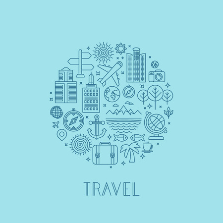 wanderlust: Vector travel icons in outline style - holiday and vacation signs
