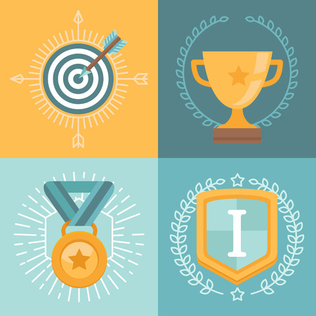 winner podium: Vector achievement badges and emblems in flat style - success concepts and icons Illustration