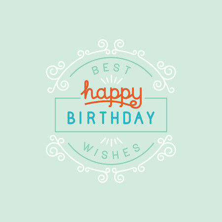 swirl background: Vector happy birthday greeting card design in linear style with hand lettering