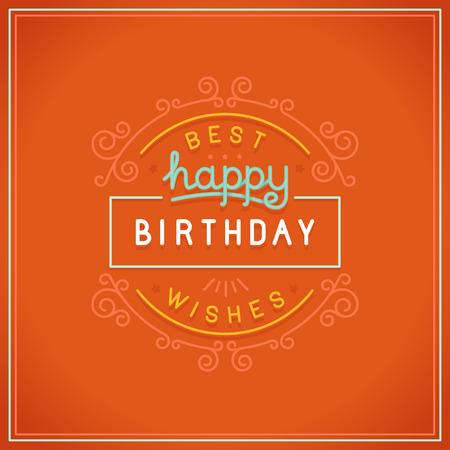 joyeux anniversaire: Conception Vector joyeux anniversaire carte de voeux dans un style lin�aire avec un lettrage � la main Illustration