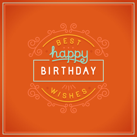 handlettering: Vector happy birthday greeting card design in linear style with hand lettering