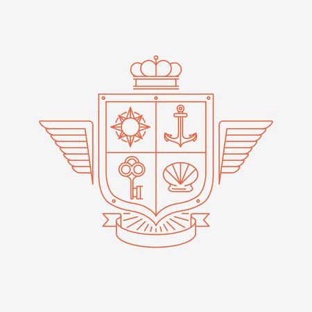 ベクトルの線形紋章のシンボルとデザイン要素 - モノラル ライン スタイルで腕のコート