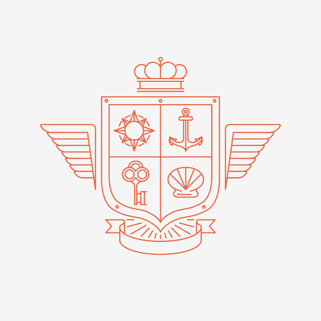 Vector linear heraldry symbols and design elements - coat of arms in mono line style Illustration