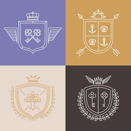 ベクトルの線形の紋章のシンボルやデザイン要素 - モノラル ライン スタイルの紋章付き外衣