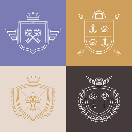 coat of arms  shield: Vector linear heraldry symbols and design elements - coat of arms in mono line style Illustration