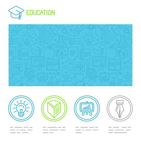 onderwijs: Vector educatieve design template in trendy mono lijn stijl - website header en pictogrammen
