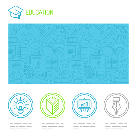 Vector educational design template  in trendy mono line style - website header and icons