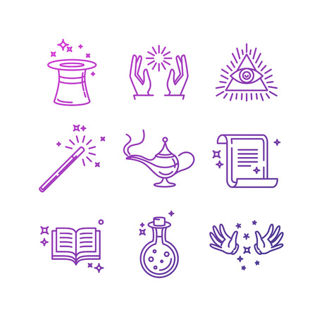 magic hat: Vector magic related linear icons and signs - tricks and magicians objects Illustration