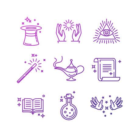czarownica: Wektor magiczne związane ikon i znaków liniowych - sztuczki i obiektów maga