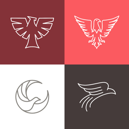 hawks: Vector de �guila y halc�n logo lineal plantillas de dise�o - conjunto de iconos de l�nea mono