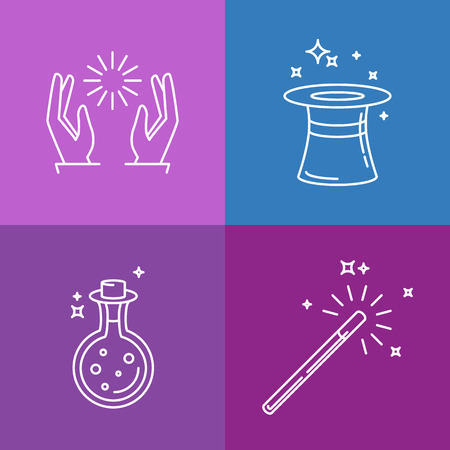 conjuring: Vector magic related linear icons and signs - tricks and magicians objects Illustration