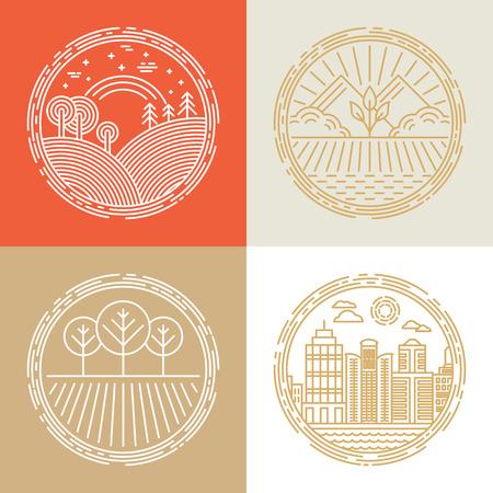 lineal: Iconos vectoriales lineales y elementos de diseño de logotipo con paisajes - conceptos de viaje