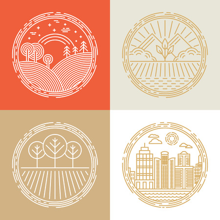 eco tourism: Vector linear icons and logo design elements with landscapes - travel concepts Illustration