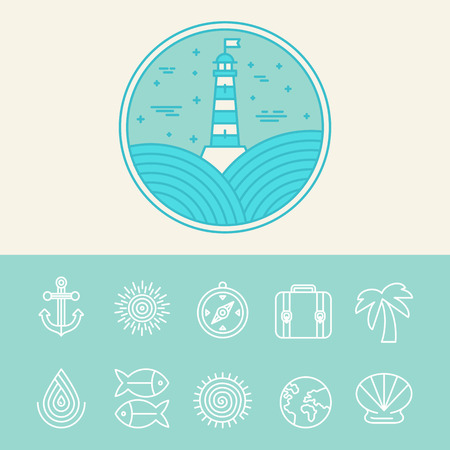 Vector nautical and travel icons and  design elements in lineat style Vector