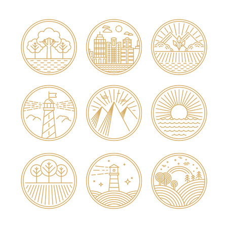 eco tourism: Vector linear icons and  design elements with landscapes - travel concepts Illustration