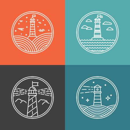 navegación: Vector faro plantillas de diseño en estilo lineal moda - emblemas e insignias abstractos - conceptos de navegación y de viaje Vectores