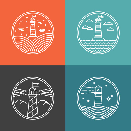lighthouse at night: Vector lighthouse  design templates in trendy linear style - abstract emblems and badges - navigational and travel concepts Illustration