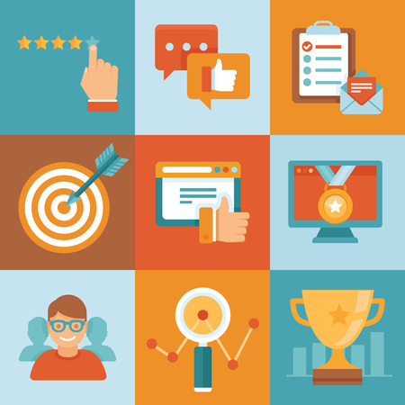 reviewing: Vector flat customer service concepts - icons and infographic design elements - client experience and top ranking Illustration