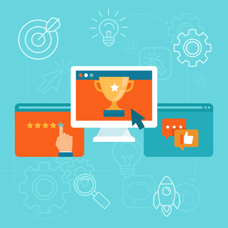 Vector seo concept in flat style - top ranking website on the screen of computer - positive customer reviews and good ratings