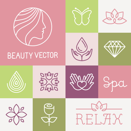 Vector spa en cosmetica ontwerp sjablonen in trendy lineaire stijl - bloemen, bladeren en pictogrammen Stock Illustratie