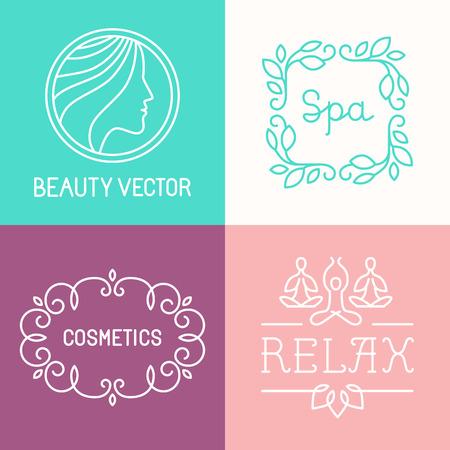 cosmeticos: Vector de spa y cosméticos plantillas de diseño en estilo lineal moda Vectores
