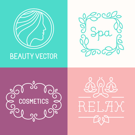 cosmetics products: Vector spa and cosmetics  design templates in trendy linear style Illustration