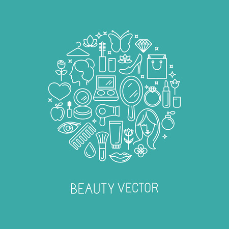 Vector linear logo with icons - beauty and cosmetics signs and symbols - design concepts for hairdressers and wellness centers Vector