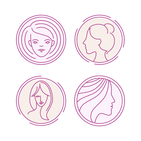 beauty saloon: Vector female faces - concept illustrations in linear style - logo design templates for beauty salons and cosmetic shops