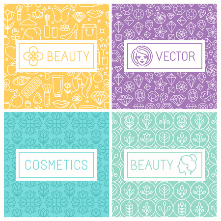 glamour: Vector beauty labels and logo design elements in trendy mono line style on seamless background