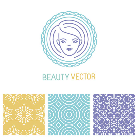 Vector beauty logo design template in trendy linear style with seamless patterns Vector