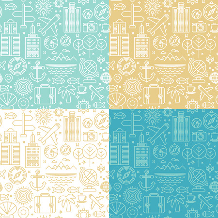 wanderlust: Vector seamless pattern with linear travel related icons and signs - abstract backgrounds