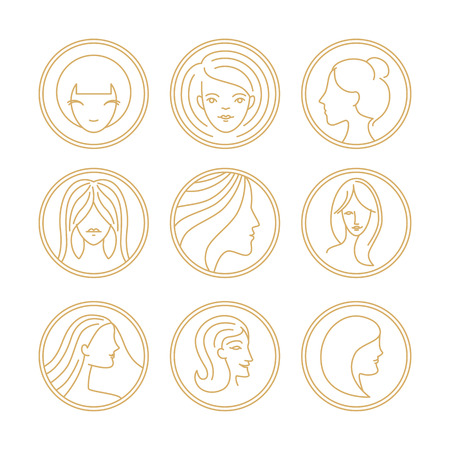 Vector womens  design elements in trendy mono line style - concepts for hairdressers salons and cosmetic shops