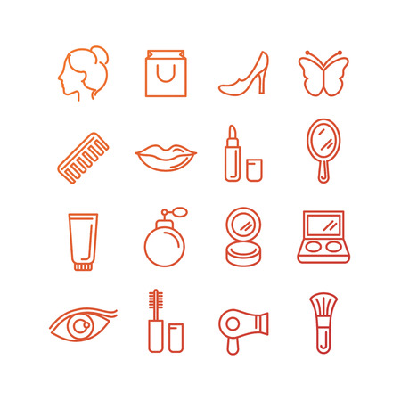Vector cosmetics and beauty icons in trendy linear style - set of signs related to women Vector