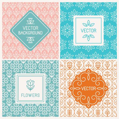 벡터 모노 라인 그래픽 디자인 템플릿 - 꽃 로고 디자인 템플릿 - 간단한 패턴과 장식 배경에 레이블 및 배지
