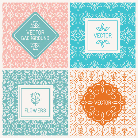 Vector mono line graphic design templates - labels and badges on decorative backgrounds with simple patterns - floral logo design templates Illustration