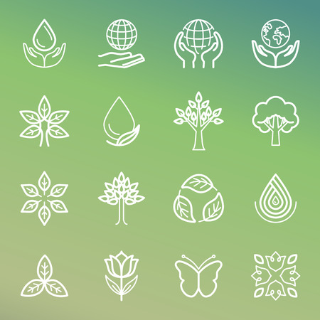 florist: Vector ecology and organic icons and logos in outline style - abstract design elements and signs
