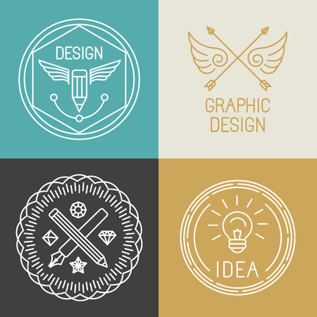 designer labels: Vector graphic designer badges and logos in trendy linear style - pens and pencils and light bulb icons