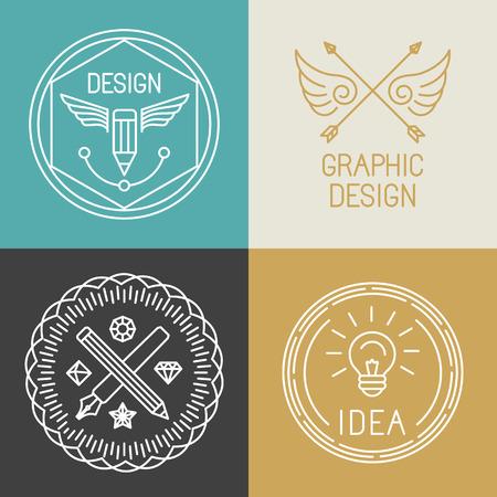 lapices: Vector insignias de dise�o gr�fico y logotipos en el estilo lineal de moda - plumas y l�pices y los iconos de la bombilla