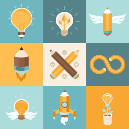 icon the idea: Vector creative ideas - concepts in flat style related to graphic and web design and creation of new ideas