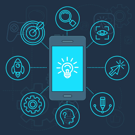 Vector innovation app on the screen of mobile phone - light bulb icon illustration in linear style Illustration