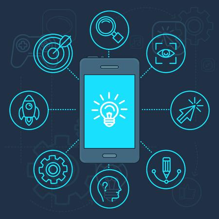 head phone: Vector innovaci�n aplicaci�n en la pantalla del tel�fono m�vil - ilustraci�n luz icono de la bombilla en el estilo lineal
