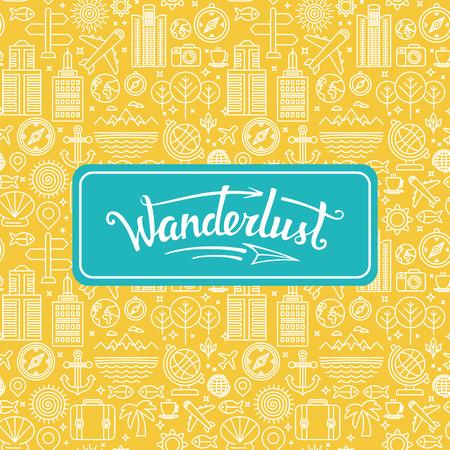 logo voyage: Vecteur wanderlust logo - concept de Voyage - main-lettrage élément de design sur fond clair avec des icônes linéaires Illustration