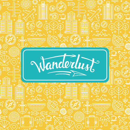Vector wanderlust logo - travel concept - hand-lettering design element on bright background with linear icons Иллюстрация