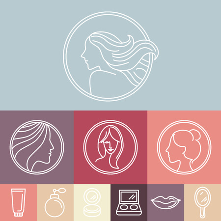 beauty saloon: Vector womans faces on circle emblems in linear style - beauty and cosmetics concepts and  design elements