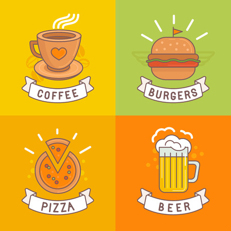 Vector linear food labels and badges with trendy linear illustrations - coffee, beer, pizza and burger Vector
