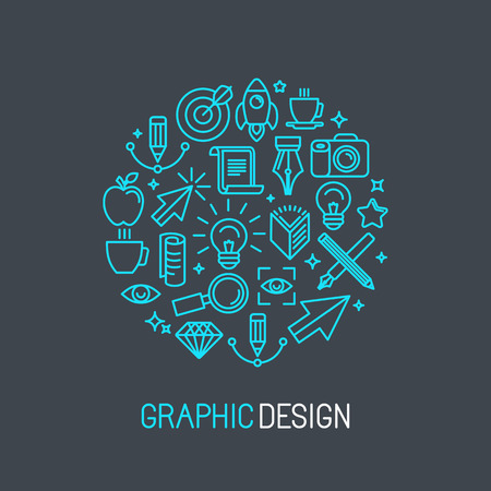 book design: Vector linear graphic design concept made of icons and signs