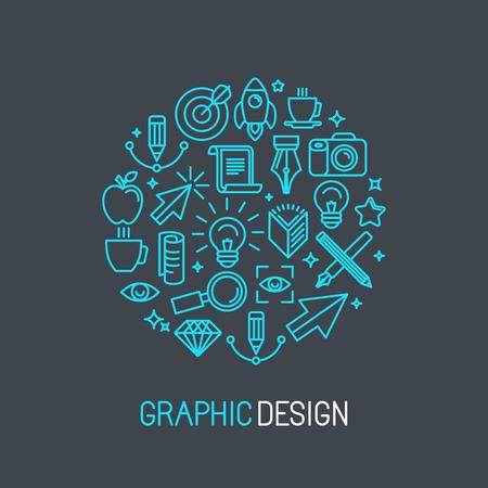 Vektor linjär grafisk designkoncept består av ikoner och tecken Illustration